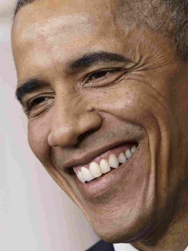 There are no photos of last night's Gridiron Club dinner, but President Obama did plenty of laughing (and it looked something like this).