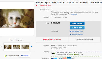 """A screenshot of an eBay listing shows """"Claire,"""" a doll that, according to the seller, is haunted by a spirit. The current price: $75.00"""