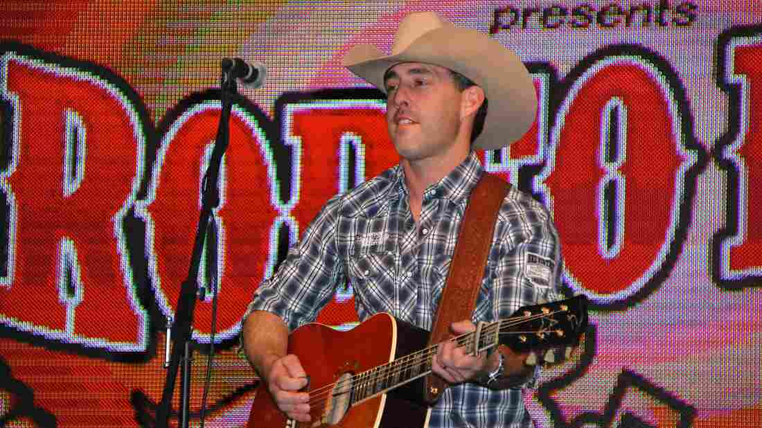 Aaron Watson on stage during the National Finals Rodeo Cowboy Fanfest in Las Vegas in 2014.