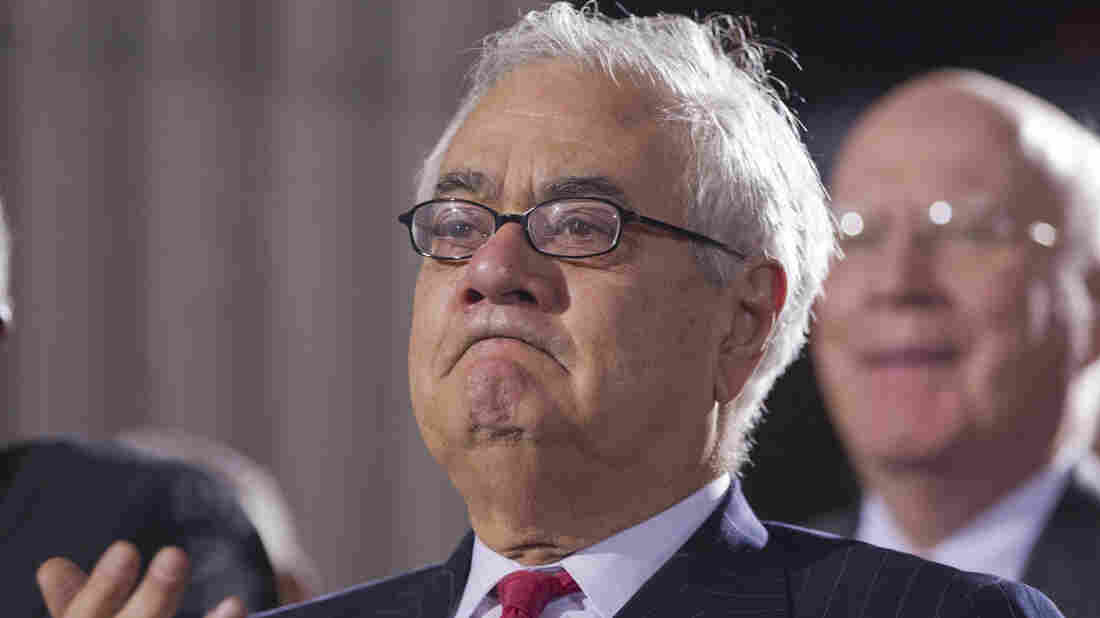 "Rep. Barney Frank shows emotion at a ceremony in December 2010 when President Obama signed the ""don't ask, don't tell"" repeal legislation that would allow gays to serve openly in the military. Frank, who retired two years ago, spent his career fighting for gay rights."