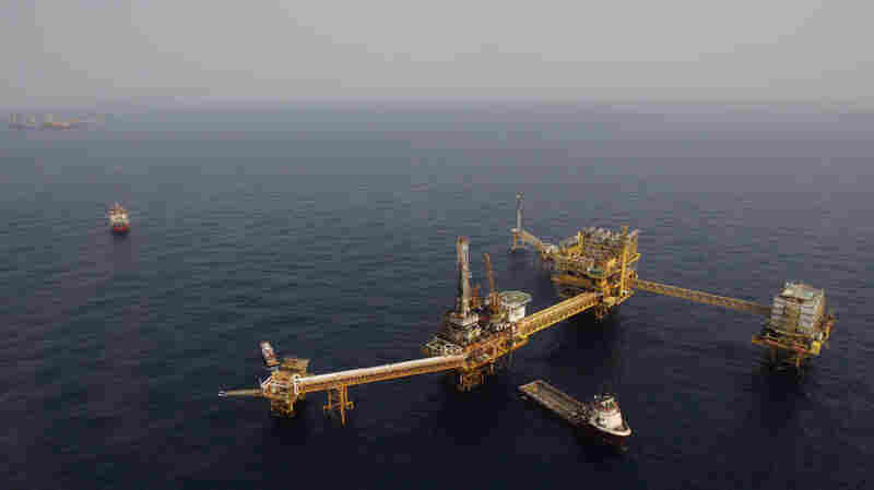 A platform owned by Mexico's state-run oil company Pemex is seen off the Bay of Campeche in the Gulf of Mexico. The country has recently opened up its energy sector to foreign investors.