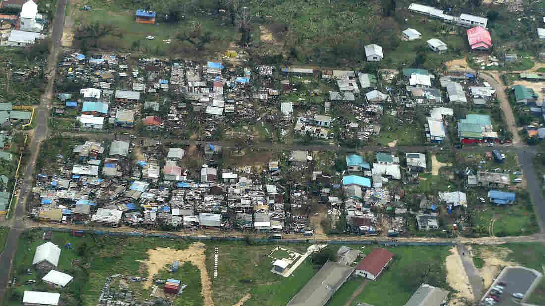 An aerial view of damaged houses in Port Vila, Vanuatu, Monday. Cyclone Pam hit the South Pacific nation on Saturday with hurricane-force winds, huge ocean swells and flash flooding.