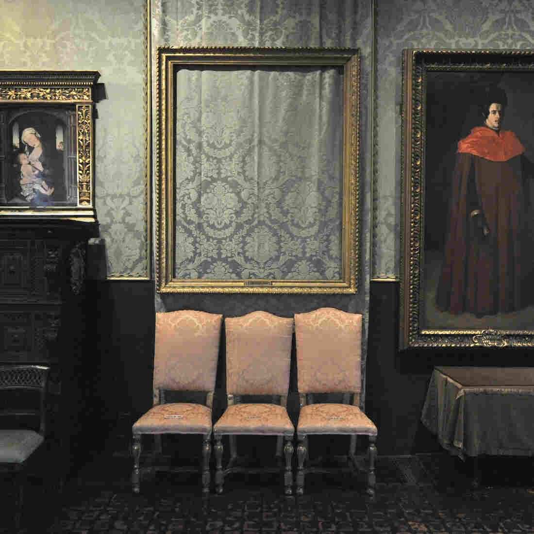 The empty frame from which thieves cut Rembrandt's The Storm on the Sea of Galilee remains on display at the Isabella Stewart Gardner Museum in Boston. The painting was one of 13 works stolen from the museum in 1990.