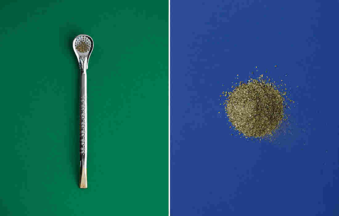 (Left) A bombilla, the metal drinking straw with a strainer at one end that's used to sip yerba mate. (Right) Mate leaves.
