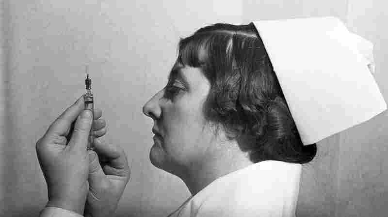 A nurse in 1938 checks the amount of insulin in a needle. For many decades, the only insulin available to people with diabetes came from the pancreases of cattle or pigs. Insulin from animals is still available outside the U.S. — and cheaper than a  recombinant DNA version.
