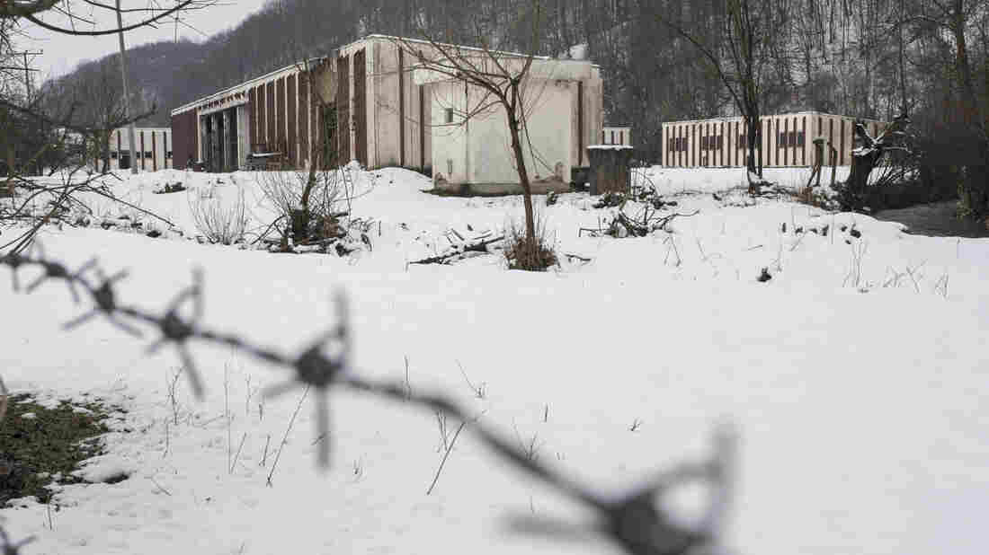 This photo taken March 7 shows a now-abandoned warehouse where more than 1,000 Bosnian Muslim men and boys were killed in July 1995 on the outskirts of Srebrenica.