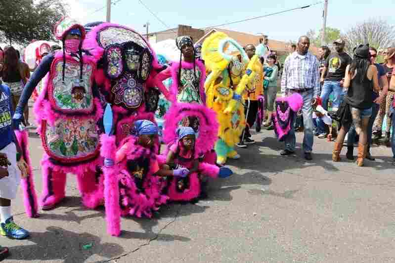 Mardi Gras Indian tribes gather in New Orleans' Central City to march, pose, sing and dance for the Sunday crowds.