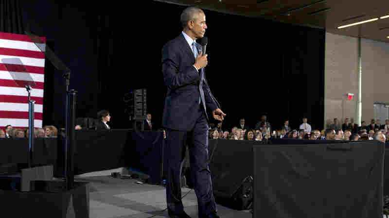 President Obama takes questions from the audience Wednesday after speaking about the economy and the middle class to the City Club of Cleveland.