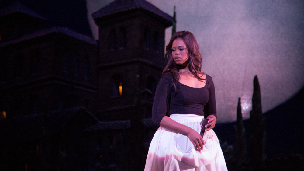 Soprano Pretty Yende in a Los Angeles Opera rehearsal. Starting Saturday, she'll be appearing in the company's production of The Marriage of Figaro.