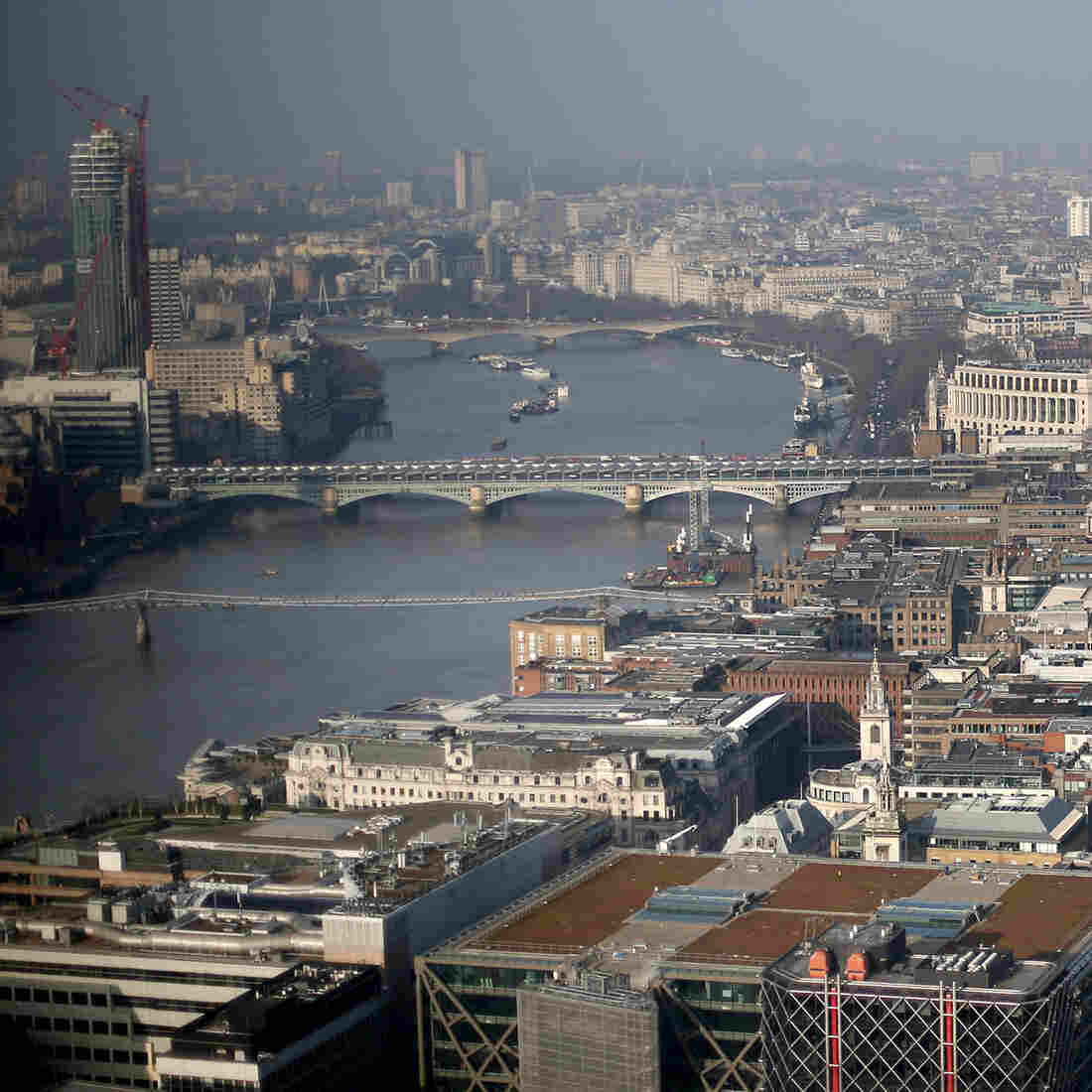 The view west from London's newest skyscraper looks over the River Thames and St. Paul's Cathedral. Russians have flocked to the English property and banking sectors as the economy crumbles back home.