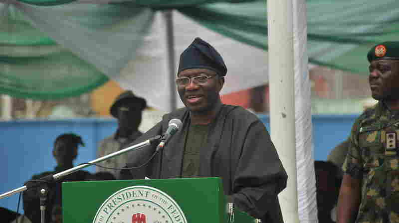 Nigerian President Goodluck Jonathan speaks during the inauguration ceremony of the 750 megawatt power station in the southwestern Ogun state, Nigeria, last month. In an interview with the BBC Friday, he said he hopes to retake all territory seized by Boko Haram within a month.