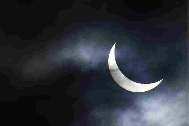 The partial solar eclipse as seen from Bridgwater, in southwestern England.