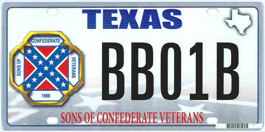 The design of a license plate proposed by the Sons of Confederate Veterans.