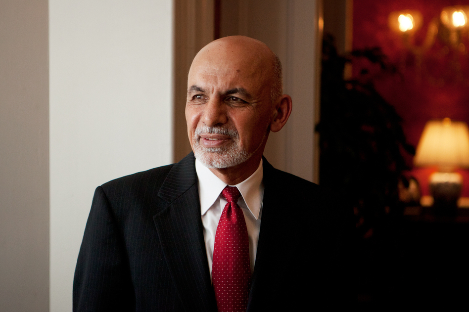 Afghan President Ashraf Ghani at the Blair House in Washington, D.C. Ghani will be meeting with President Obama this week. (Emily Jan/NPR)