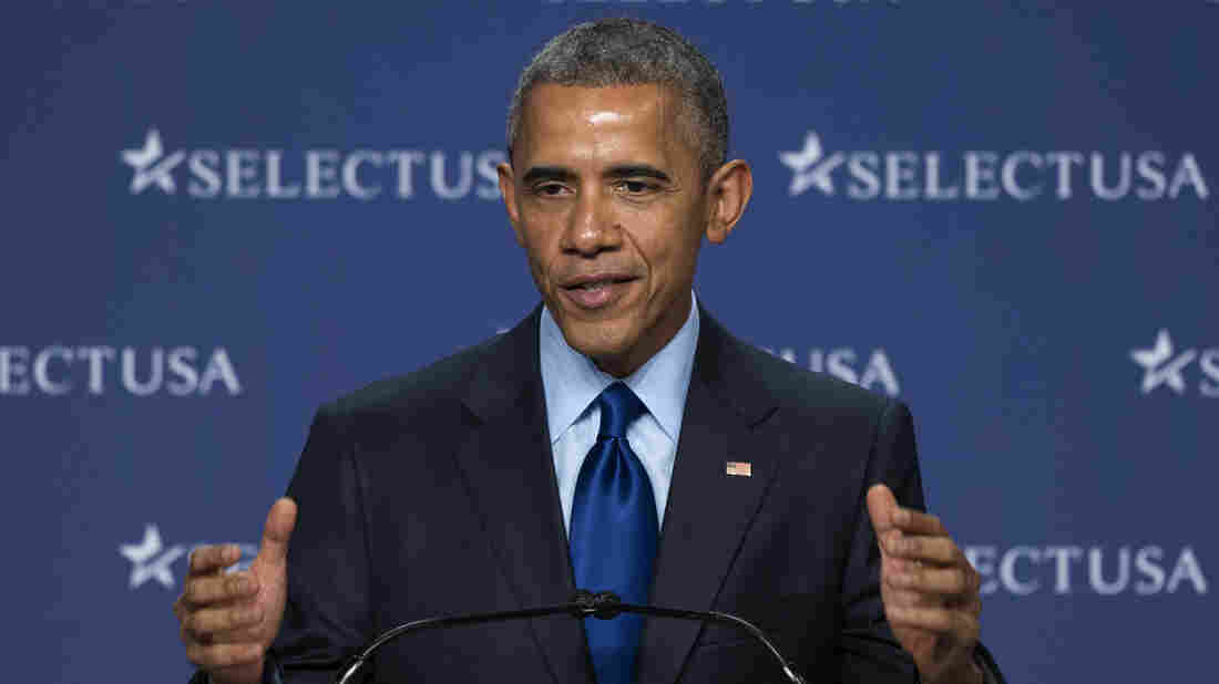 President Obama speaks at the SelectUSA Investment Summit, hosted by the Commerce Department on Monday, at National Harbor, Md.