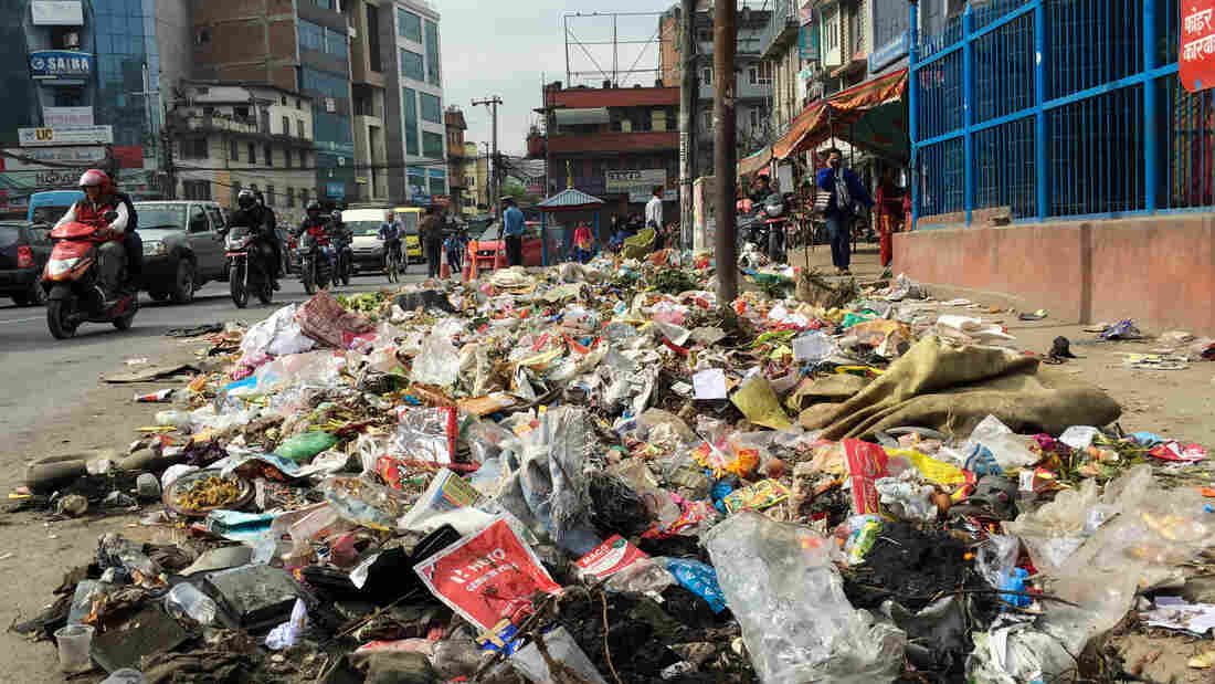 Even Oscar the Grouch might be put off by the growing heaps of trash in the center of Kathmandu.