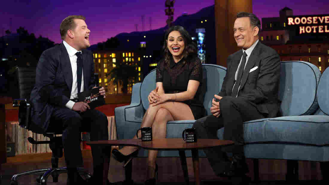 James Corden (left) talks to Mila Kunis and Tom Hanks on Monday's debut of The Late Late Show with James Corden.