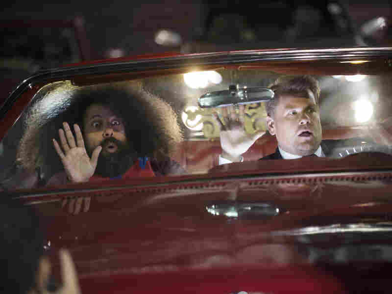Reggie Watts and Corden tape the opening sequence for The Late Late Show with James Corden.