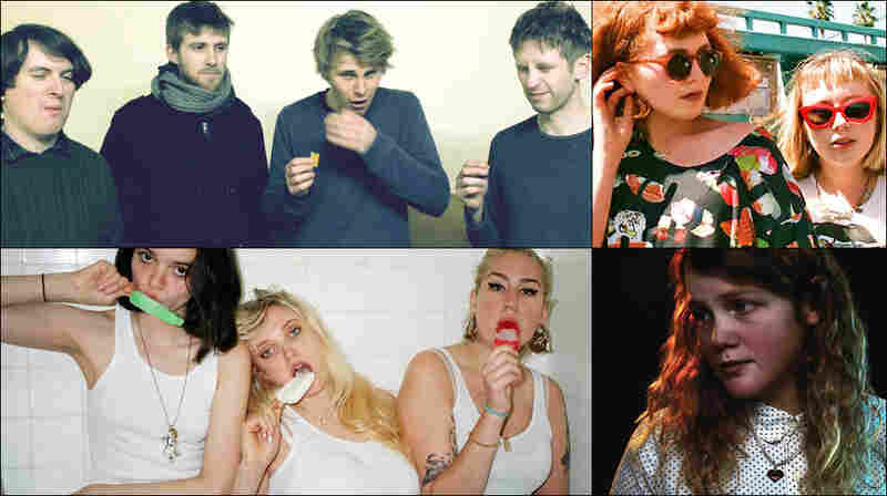 Clockwise from upper left: Girl Band, Girlpool, Kate Tempest, The Prettiots
