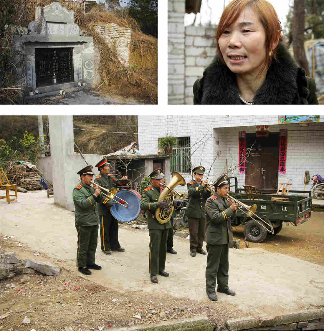 A brass band of farmers dressed in old People's Liberation Army uniforms blasts a hero's welcome for Rocky.