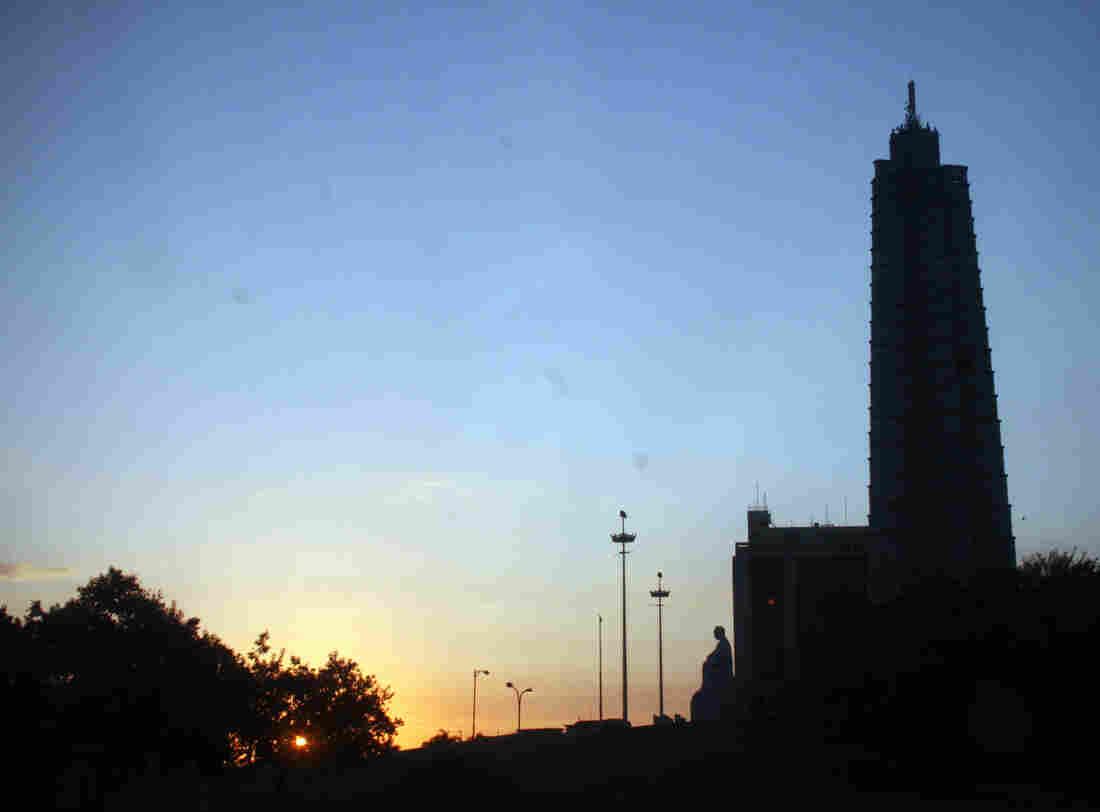 La Plaza de la Revolucion,  Havana's version of Moscow's Red Square or Beijing's Tiananmen Square, as the sun rises over the city.