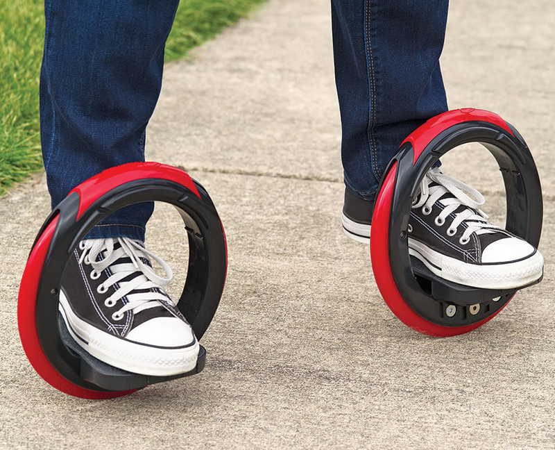 The Sidewinding Circular Skates are a modern hybrid of skates and skateboard.