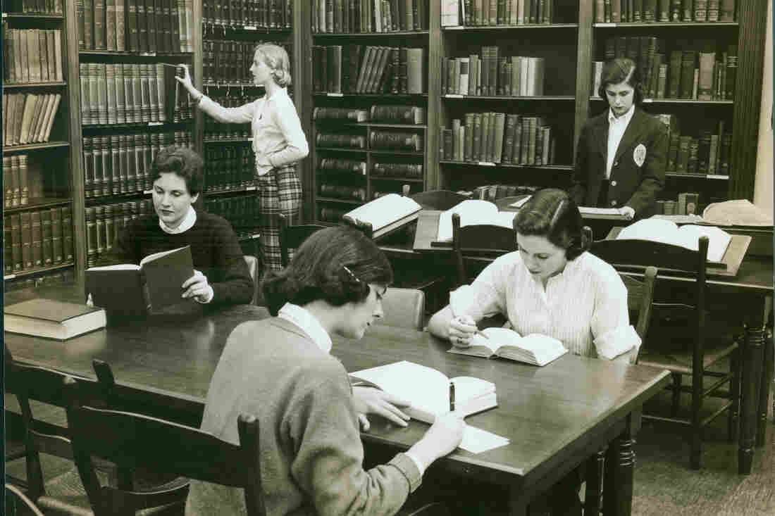 Students in the Powell Reading Room at Sweet Briar College, circa 1950.
