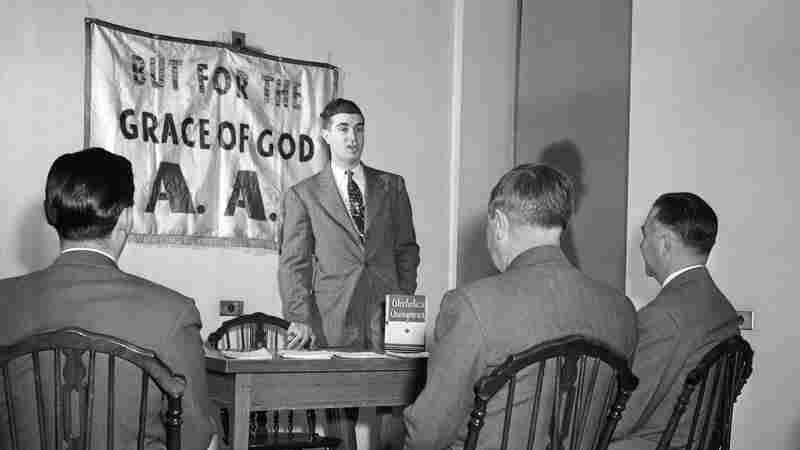 A meeting of Alcoholics Anonymous in the 1950s was based on much the same 12-step program used today.