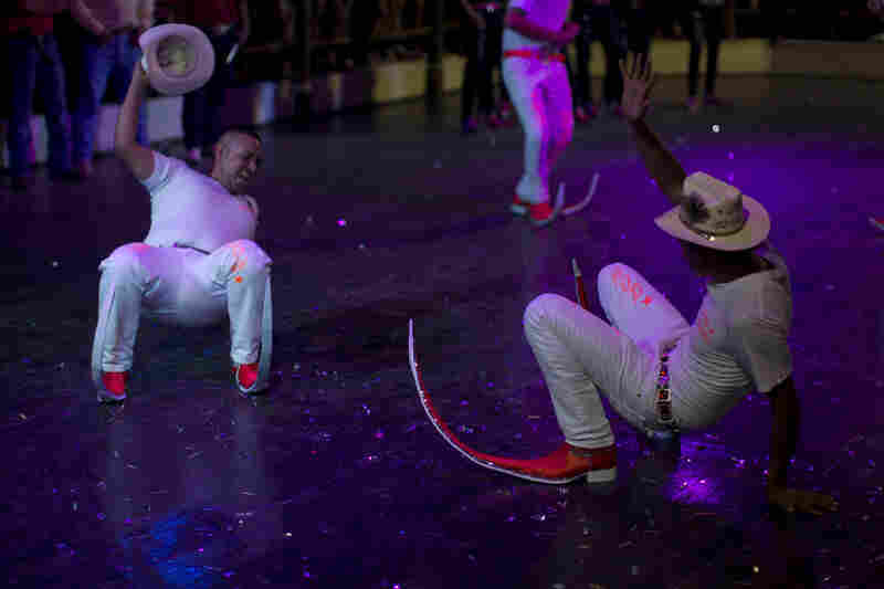 The Aliados dance crew performs at the Mesquit Rodeo nightclub during a dance competition in Matehuala.