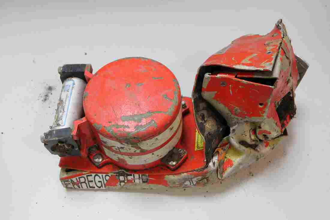 This photo from the French air accident investigation agency shows the voice data recorder of the Germanwings jetliner that crashed Tuesday in the French Alps.