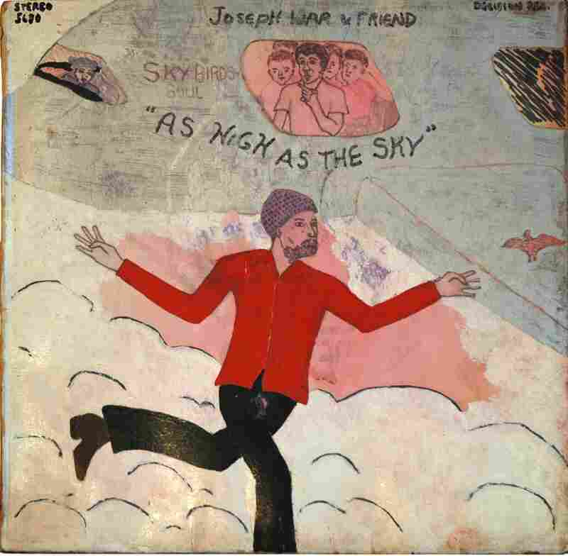 Decades ago, the Washington, D.C. artist who goes by Mingering Mike channeled his musical aspirations into a series of meticulously hand-painted LP covers for albums that didn't exist. This piece from 1972 is called Joseph War & Friend, 'As High As The Sky' (mixed media on paperboard).