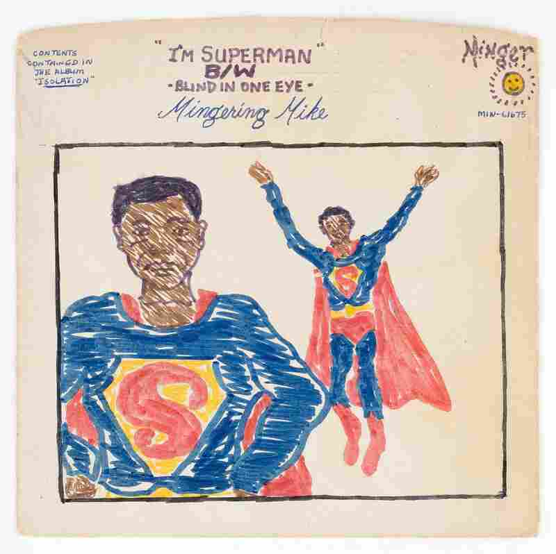 """I'm Superman"" b/w ""Blind in One Eye,"" 1975 (mixed media on paperboard)."