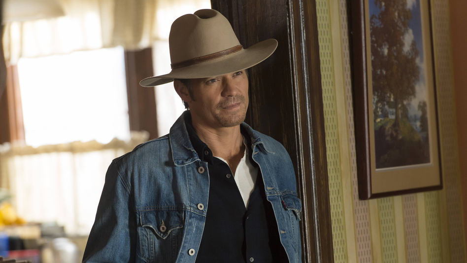 """Timothy Olyphant plays Deputy U.S. Marshal Raylan Givens on FX's <em>Justified</em>, which is based on a novella by Elmore Leonard. The show's creator, Graham Yost, says the only """"tussle"""" the writers had with Leonard happened during the pilot, over which hat Raylan should wear. (Prashant Gupta/FX)"""