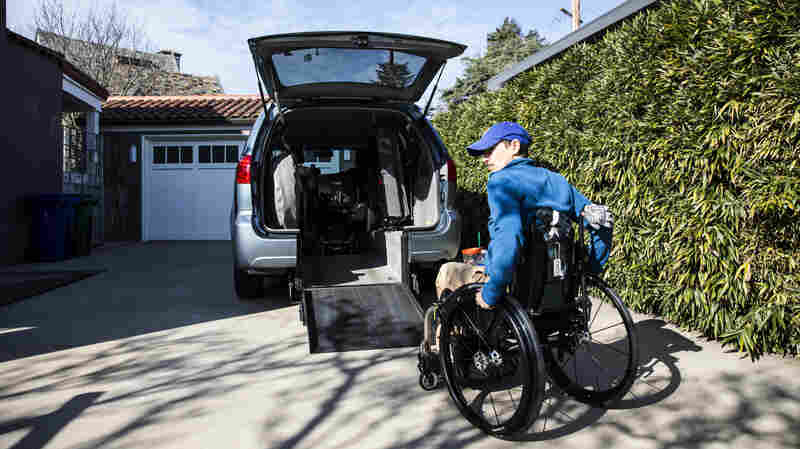 Frances Stevens uses a custom ramp leading to her van. An accident at work in 1997 left her unable to walk. She received full workers' compensation benefits until two years ago, when the insurer withdrew her medications and home health aide. Her lawsuit is a test of California's use of anonymous, independent medical reviewers.