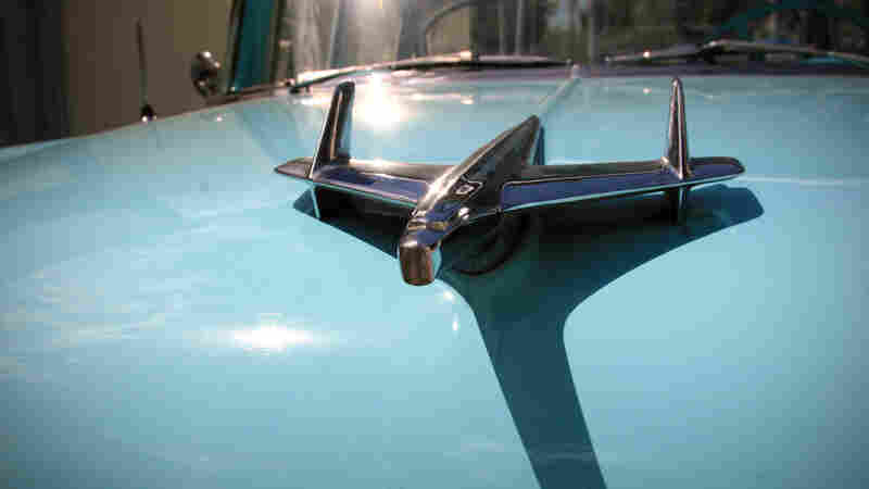 The hood ornament of a 1955 Chevy Belair. Under new more liberal policies instituted in Cuba the past few years, the owner, Julio Alvarez, started a restoration shop and named the car Nadin. Its baby-pink counterpart is named Lola.