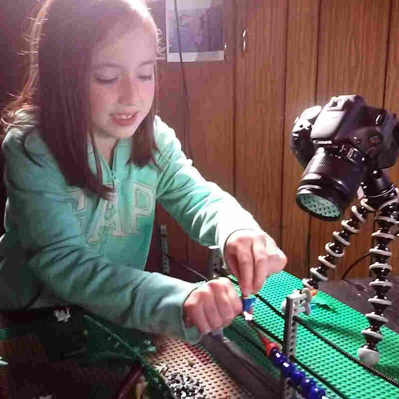 Eight-year-old Hailee worked with her dad on the Lego version of Jurassic Park.