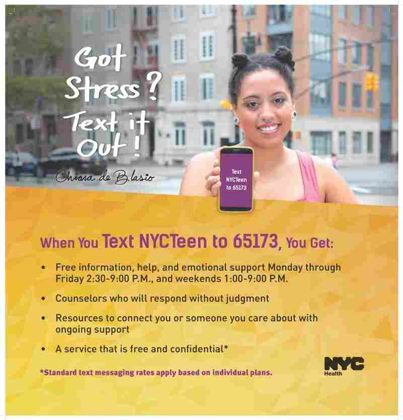 A flyer for the NYC Teen Text program.