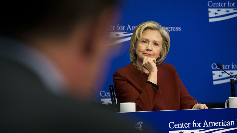 Hillary Clinton listens to another panelist during an event at the Center for American Progress, a left-leaning think tank. (Pablo Martinez Monsivais/AP)