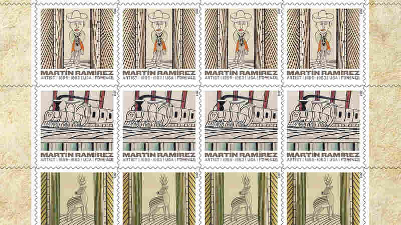 The U.S. Postal Service, in conjunction with the Ricco-Maresca Gallery in New York, unveiled five new stamps Thursday depicting the paintings of Mexican artist Martin Ramirez.