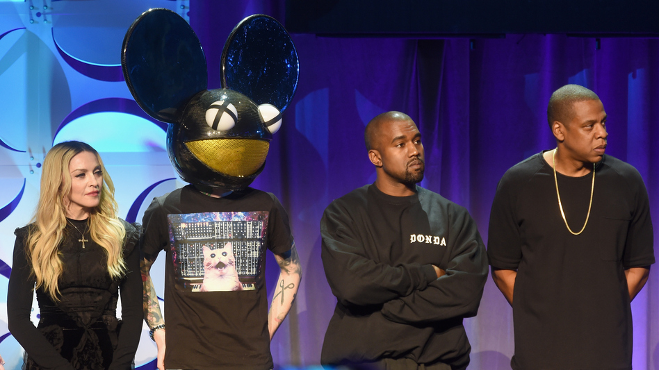 Madonna, Deadmau5, Kanye West and Jay Z onstage at the Tidal launch event. (Getty Images)