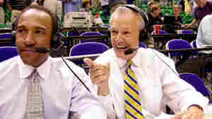 """Hot Rod"" Hundley (right) does postgame commentary with Ron Boone after the Utah Jazz-Seattle SuperSonics game on May 5, 2000, in Salt Lake City."