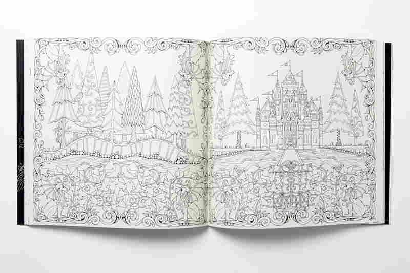 A spread from Enchanted Forest: An Inky Quest and Coloring Book by Johanna Basford.