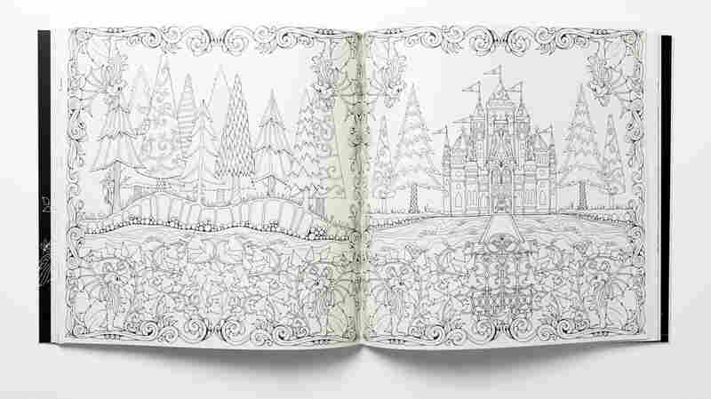 A spread from Enchanted Forest: An Inky Quest & Coloring Book by Johanna Basford.