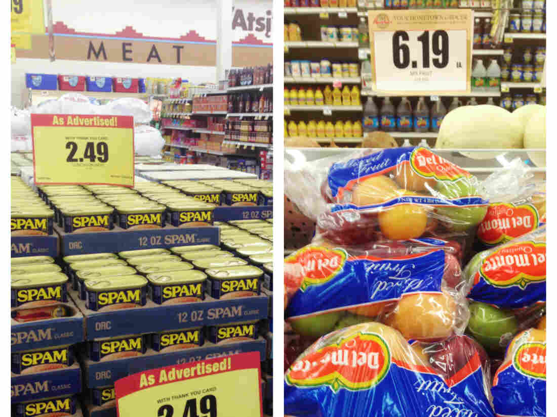 "A price comparison of Spam and fresh fruit in a grocery store in Navajo Nation. According to the Diné Community Advocacy Alliance, the vast majority of the inventory at reservation stores would be considered ""junk food"" under the new tax law."