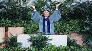 Rev. Robert H. Schuller, pastor of the Crystal Cathedral in Garden Grove, Calif., speaks at the church in 1996. Schuller, who hosted the top-rated Hour of Power telecast for decades, died Thursday at age 88.