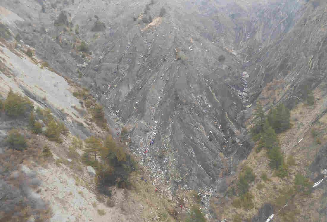 The crash site of Germanwings Flight 9525 in the French Alps. Evidence from the flight data recorder shows the co-pilot accelerated as the airliner headed toward the mountainside, French investigators say.