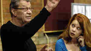 Critic and opera translator Andrew Porter directs singer Nikki Einfeld during a rehearsal of a Canadian Opera Company production of Mozart's Magic Flute in Toronto in 2005.