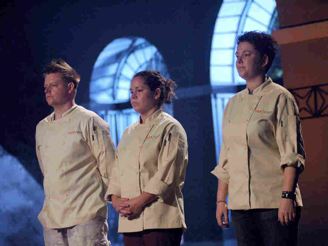 """Izard was crowned the prestigious title of Bravo's """"Top Chef"""" during the TV show's 4th season finale. Richard Blais, left, and Lisa Fernandes, right, were also finalists."""