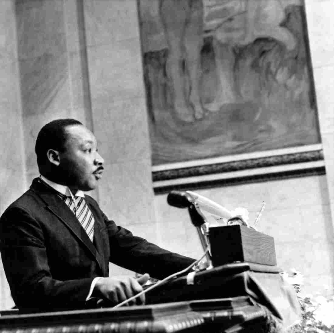 Martin Luther King Jr. delivers his Nobel Peace Prize acceptance speech in Norway in 1964. In King's hometown of Atlanta, social conservatives at first refused to attend an integrated dinner in his honor.