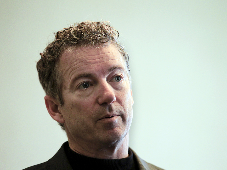 Sen. Rand Paul, R-Ky., listens to a question at the Epoch Restaurant in Exeter, N.H., on March 21. Paul announced his presidential run today in Louisville, Ky. (Cheryl Senter/AP)